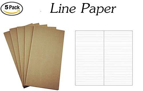 """Traveler Notebook Refill Set,160 Sheet / 320 Page / 100gsm Thick Traveler notebook Standard & Regular size insert (8.5"""" x 4.5"""") -Standard line"""