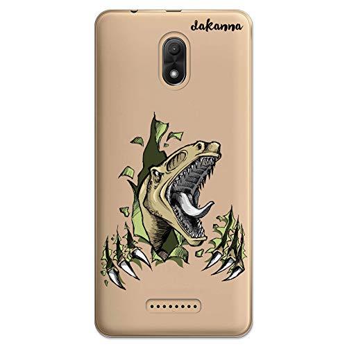 dakanna Schutzhülle Kompatibel mit [Wiko Jerry 3] Flexible Silikon-Handy-Hülle [Transparenter Hintergr&] Dinosaurier-Raubvogel Design, TPU Gel Hülle Cover für Dein Smartphone