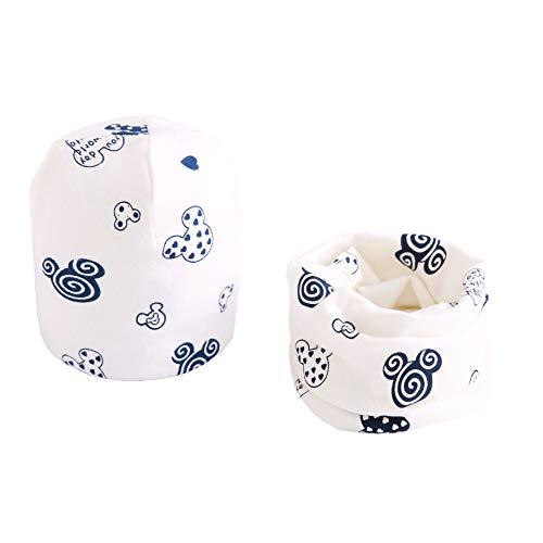 Boomly Baby Wintermütze Loop Schal Set Warm Weich Beanie Hüte Neckwarmer Schal-Kappen Für 0-8 Jahre alte Kinder (Weiß, 7 Monate-3 Jahre alt)