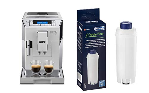 De'Longhi ECAM 45.760.W Eletta Cappuccino Macchina da caffè Automatica, 1450 W, 2 Cups, Acciaio e plastica & DLSC002 Filtro per Acqua Macchina Caffè, Filtro Acqua Addolcitore