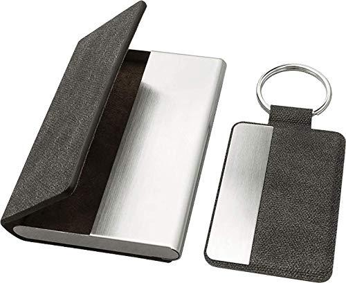 Pularys Estuche para tarjetas de visita y llavero, de piel sintética y metal, para 18 tarjetas de visita, llavero con un práctico anillo de metal