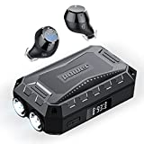 [Nuevo] Auriculares Bluetooth 5.1, ORSNOG Auriculares Inalámbricos con Linterna, Caja de Carga de 3 Puertos 2600mAh con Pantalla LED,Auriculares Estéreo al Aire Libre a Prueba de Agua IPX7