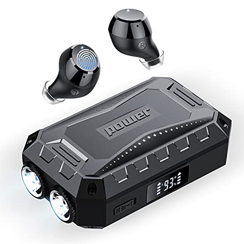 [2021 Nuevo] Auriculares Bluetooth 5.1, ORSNOG Auriculares Inalámbricos con Linterna, Caja de Carga de 3 Puertos 2600mAh con Pantalla LED,Auriculares Estéreo al Aire Libre a Prueba de Agua IPX7