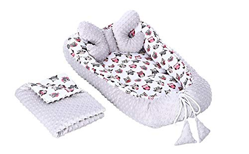 3 in 1 Babynest Babynestchen Kuschelnest Nest 2-seitig Minky/Baumwolle Kokon + Babydecke Bettdecke + Kopfkissen Schmetterlingskissen Komplett Set (Eulen grau)