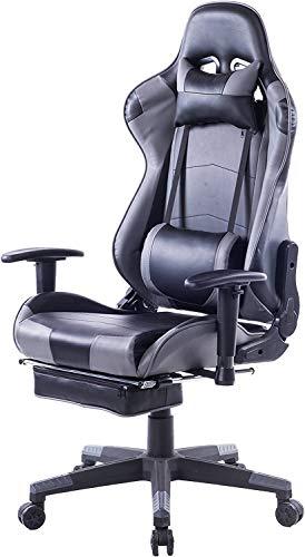 KCREAM Gaming Stuhl Gaming Sessel Massage Racing Bürostuhl Höhenverstellbarer Drehstuhl PC Stuhl Ergonomisches Computerstuhl Gamer Stuhl (grau)