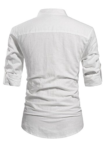 Slim Fit Men's Long Sleeve Linen Collarless Shirt Light Blue,M