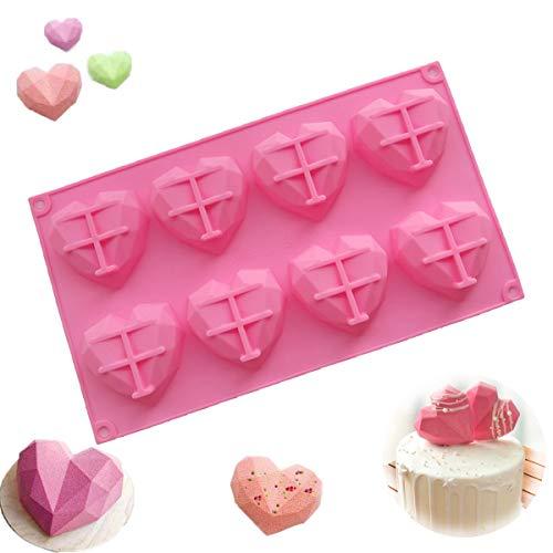 8 Herzen|Diamant Silikon Kuchenform|Dreidimensionale Liebesherzform|Geeignet für Öfen und Mikrowellen,Hohe Temperaturbeständigkeit und Einfaches Entformen,Nicht klebrig