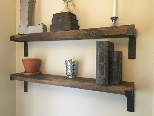 Rustic Shelf with hand made brackets, each shelf made to your specifications of barnwood. farmhouse decor Rustic home decor