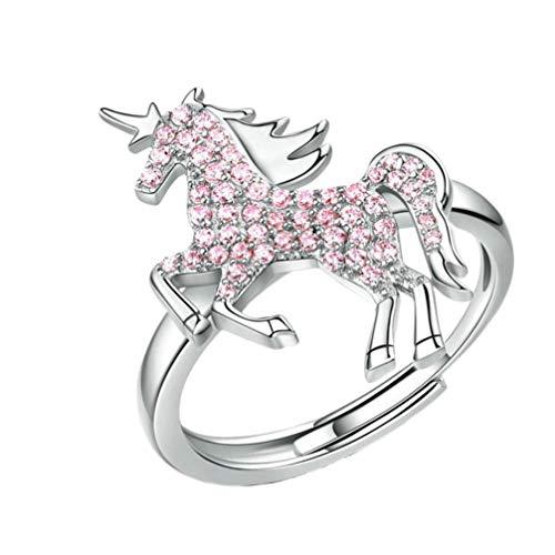 TENDYCOCO Anillo de Dedo Ajustable de Unicornio Regalo de Anillo de Envoltura Animal de Diamantes de imitación de Plata para Mujeres niñas