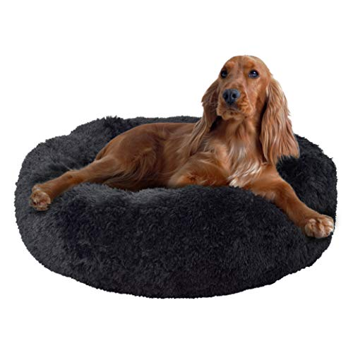 FuzzBall Fluffy Luxe Pet Bed, Calming Donut Cuddler – Machine Washable, Waterproof Base, Anti-Slip (for Medium Dogs & Cats up to 45lbs)