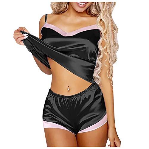 BOIYI Conjunto de lencería para Mujer Verano Collar en V Honda Sin Mangas Pijama de Satén Ropa de Dormir Pantalones Cortas con Cintura Elástica Ropa Interior Camisón Babydoll(Negro,XL)