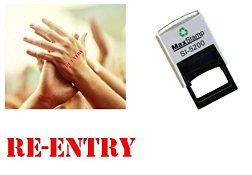 Re-Entry hand stamp - suitable for Festivals, Parties, Pubs, Special Events - Exhibitions self inking Red stamp 28 x 6mm