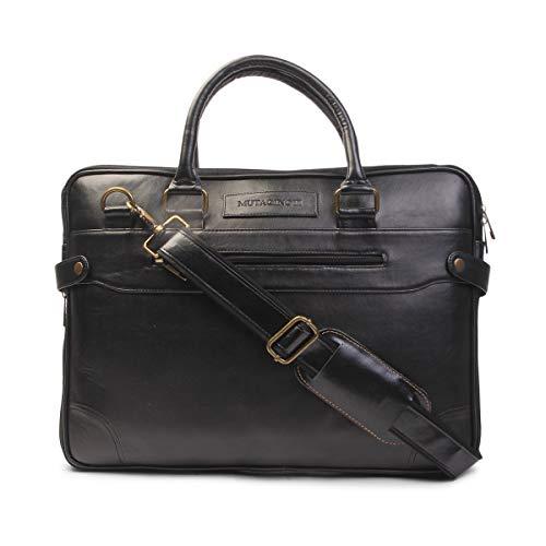 MUTAQINOTI Elegante y compacto cuero vegano negro hecho a mano hombres mujeres unisex portátil MacBook Messenger Bag Office Bag (MQ_Ex)