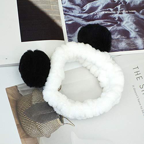 8 PcsElastic Cute Panda Ear Soft Coral Fleece Headband for Women Makeup Shower Washing Face Spa Mask Head Wraps Russian Federation Black