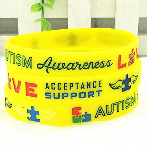 Xlin Pulseras De Concienciación Al Autismo Pulsera De Alerta Médica De Silicona De Silicona para Hombres para Hombres (Color : Yellow)