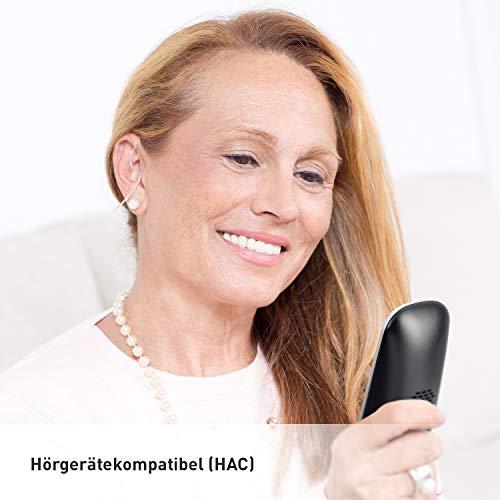 Panasonic KX-TGQ500GS Seniorentelefon (DECT IP-Telefon (schnurlos) mit großen Tasten, Notruftaste, Rentner Telefon für Hörgeräte) silber