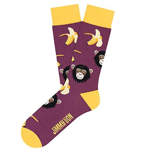 Jimmy Lion Calcetines Monkeys & Bananas en color Morado, fabricados en algodón peinado de primera calidad.Talla 36-40 en media caña.