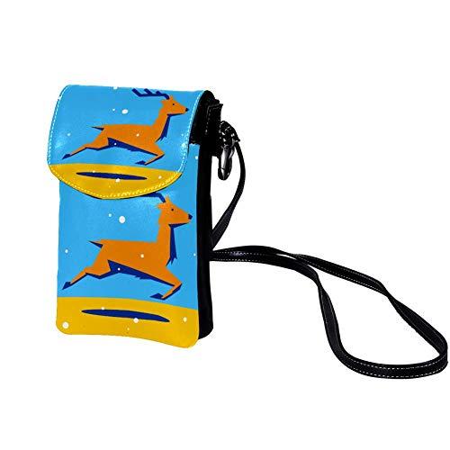 Xingruyun Bolso de teléfono móvil para Mujer Ejecutando Elk Mini Bolso de teléfono Celular Monedero doble de Cuero con ranura para tarjeta de crédito 19x12x2cm