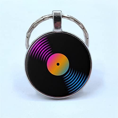 Llavero Simple Estilo clásico Vinilo Disco Retro gramófono Registro cúpula Cristal Llavero Amantes de la música Regalo (Color : 1, Size : H)
