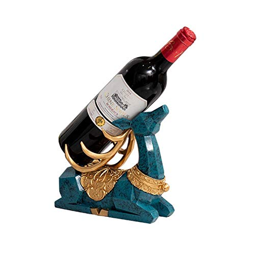 MQH Estantería de Vino Creative Elk Wine Rack Decoración Sala de Estar Gabinete TV Gabinete de Vino Almacenamiento de Corcho Entrada Home Craft Mobilings Estantería de Botellas (Color : Ancient Blue)
