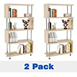 Bestier 5 Shelf Bookcase S-Shaped Set of 2, Corner Bookshelf Ladder Shelf Storage Corner Bookshelves, Hollow-Core Board Z Shaped 5 Tier Industrial Shelves Stand for Home Office Living Room