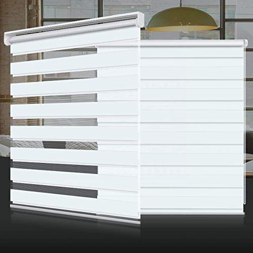 """SEEYE Zebra Shade Blinds Horizontal Window Curtain Day and Night Blind Dual Layer Shades Easy to Install 31.5""""×59"""", White"""