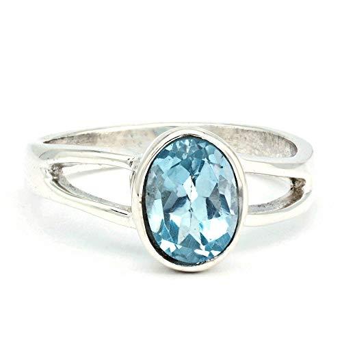 Anello argento 925 con topazio azzurro (MRI 180), dimensioni anello:56 mm/Ø 17.8 mm