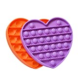 Push Bubble Popper Popitz Fidget Sensory Toys 2 Pack Heart, Silicone Stress Reliever Set, Autism Special Needs, Squeeze Sensory Toy for Kids, Adults - Purple & Orange