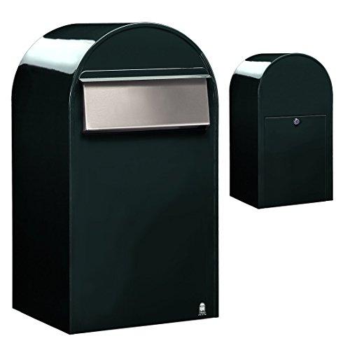 Bobi Grande B Briefkasten COL 6064 schwarzgrün, Klappe aus Edelstahl Zaunbriefkasten