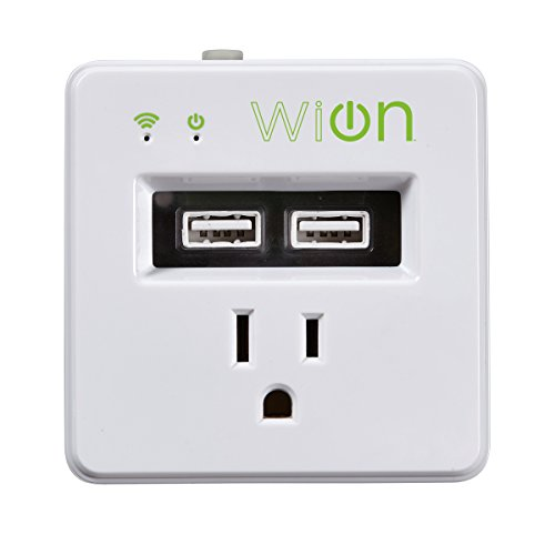WiOn 50055 Indoor Wi-Fi Plug-In USB Wall Tap, 1 Grounded Outlet, 2 USB Ports