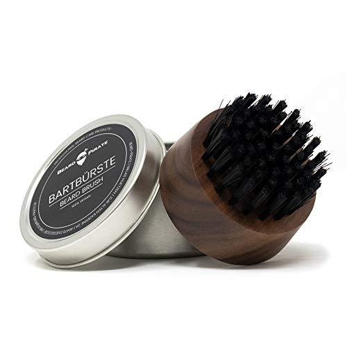 Beard-Pirate® Bartbürste aus Nylonfasern und Griff aus Walnussholz - 100% Vegan - Beard Brush für perfektes Bart Styling und Anwendung von Bartöl