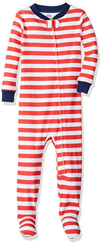 Amazon Essentials Baby Zip-Front Footed Sleeper, Even Stripe Red White, 12-18M
