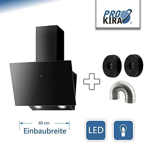 PROKIRA DH60GB-01 Kopffrei Haube Ablufthaube Umluft Dunstabzugshaube Wandhaube Schwarz LED Glas 60 cm