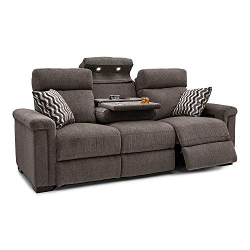 Seatcraft Hawke Home Theater Seating - Performance Fabric - Power Recline - Powered Headrests - Matching Pillows - USB Charging - Cup Holders (Sofa with Fold Down Table, Jasper Tan)