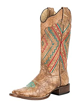 ROPER Women s Navajo-Inspired Inlay Cowgirl Boot Square Toe Brown 7 M US