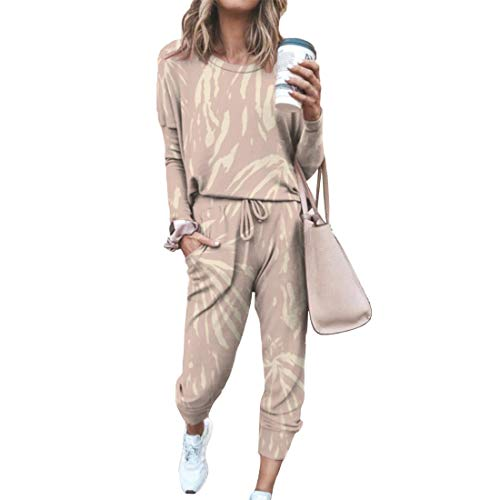 Aiweijia Damen Langarm Rundhalsausschnitt Einfarbig Sportswear Trainingsanzug Set Jogginganzug Gedruckt Home Service Anzug Pyjama Sets Nachtwäsche 2Pcs Set Top & Bottoms Outfits