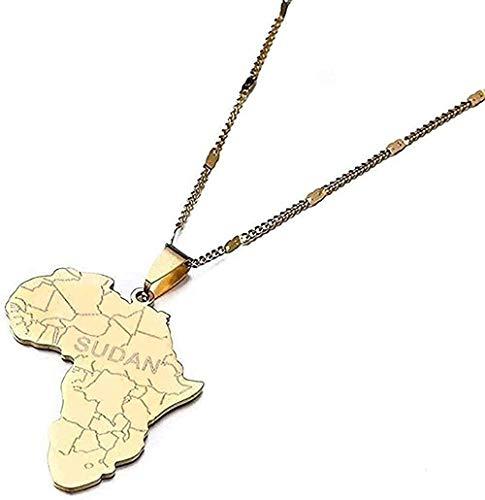 huangshuhua Collar Mapa de África con Collares Pendientes de Sudán para Hombres Hombres Color Mapas africanos Regalo de joyería para Mujeres y niñas