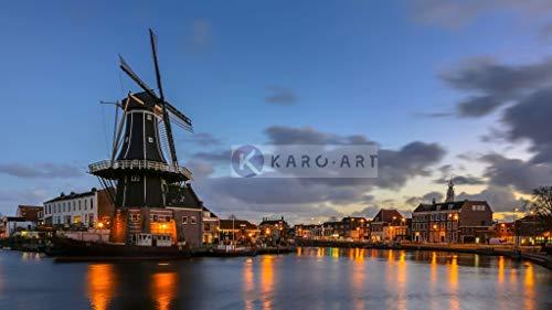 Karo-art - Schilderij - Haarlem, molen Adriaan in de avond, print op canvas, premium print - Muurdecoratie