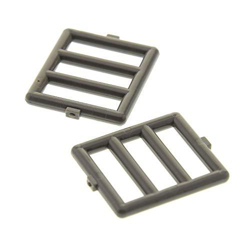 Preisvergleich Produktbild Bausteine gebraucht 2 x Lego System Fenster Gitter alt-dunkel grau 1 x 4 x 3 für Set Star Wars 7191 4482 7468 7101 7467 6016