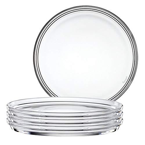 Spiegelau & Nachtmann 2670142, 4-er Set Teller gross, Kristallglas, Bistro, Größe: 22 cm, 0093511-0