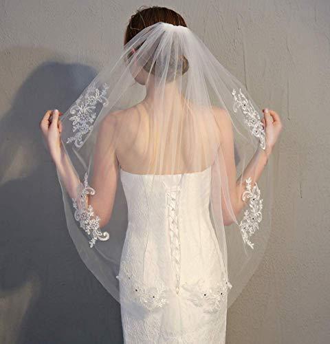 Spitze Brautschleier Satinkante Mit Kamm -Elegent Hochzeits Braut Schleier Zum Brautkleid Mit Kamm Pailletten Hochzeit Braut,90-150cm