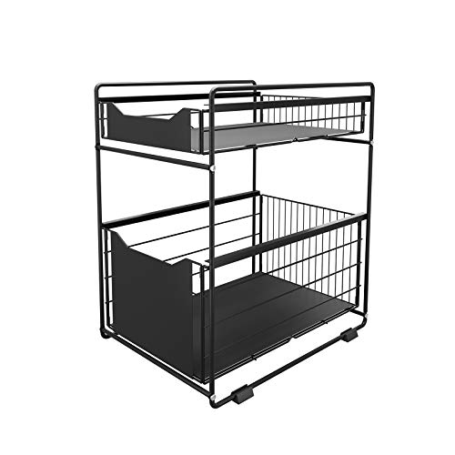 DAWNYIELD 2 Tier Organizer with Storage Drawer Under Sink Sliding Cabinet...
