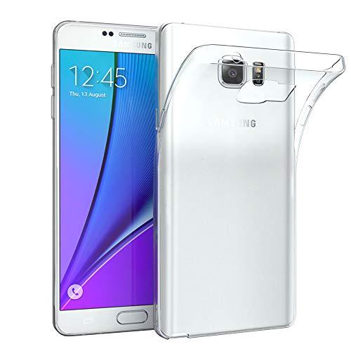 EAZY CASE Hülle kompatibel mit Samsung Galaxy Note 5 Schutzhülle Silikon, Ultra dünn, Slimcover, Handyhülle, Silikonhülle, Backcover, Durchsichtig, Klar Transparent