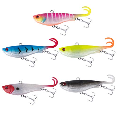Goture Lead Jigs Soft Fishing Lures with Hook Sinking Swimbaits for Saltwater and Freshwater Multi Colors Available (Pack of 5,0.74oz)