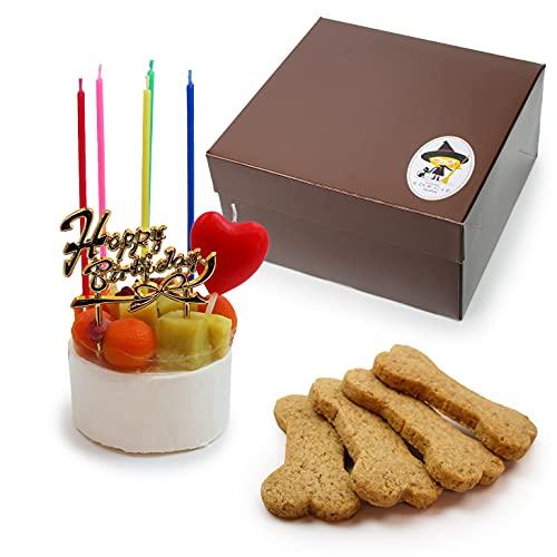 犬用 生デコレーションケーキ 2号サイズ(120g) ボーンクッキー 4枚付 【 小型犬~中型犬 用 】 | ドッグケーキ 魔法洋菓子店ソルシエ