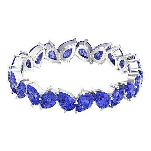 Anillo de boda para novia, 3,3 quilates, anillo de tanzanita con forma de pera, anillo de eternidad en zigzag, anillo de eternidad, anillo de gema azul, 14K Oro blanco, Size:EU 61