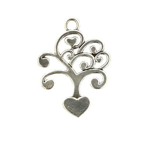 12X Ciondolo metallo albero della vita cuore 4cm decorazione bomboniera
