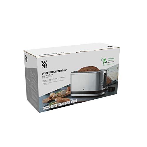WMF KITCHENMINIS Grille Pain 1 Fente Extra Longue 7 Niveaux de Brunissage Réchauffe Viennoiserie 4 Fonctions Inox Cromargan Haute Qualité 900W 0414120011