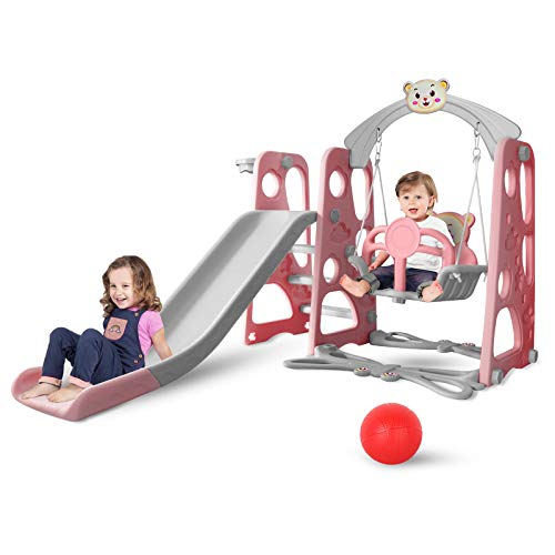 BIGHAKI Toddler Climber and Swing Set, Climber Slide Playset with Basketball Hoops, Extra Long Slide and Ball, Easy Set Up Climber Kids Playset for Indoor Outdoor Backyard Slide Playground (Pink)