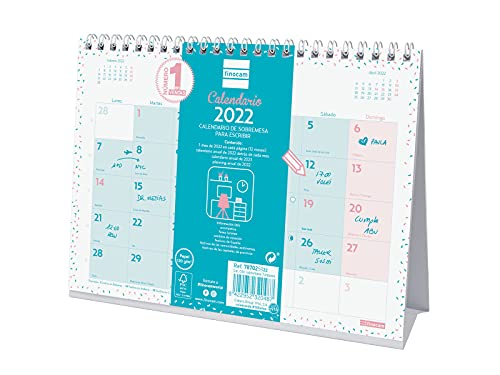 Finocam - Calendario 2022 S - 210x150 mm, Español, Sobremesa - Chic Turquesa